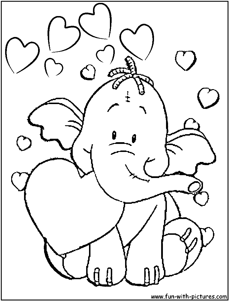 Image detail for -Heffalump Valentine Coloring Page of heffalump ...