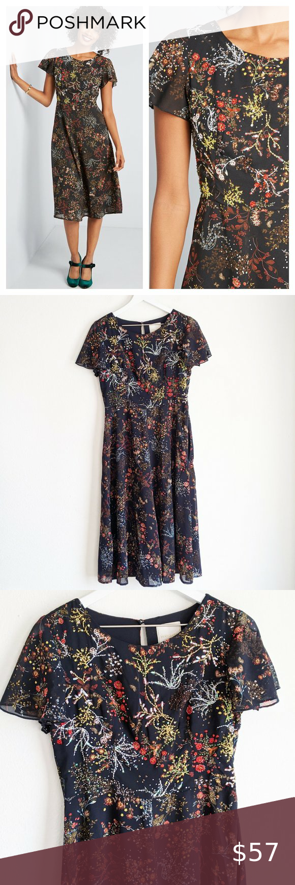 Modcloth Embellished to Perfection Midi Dress