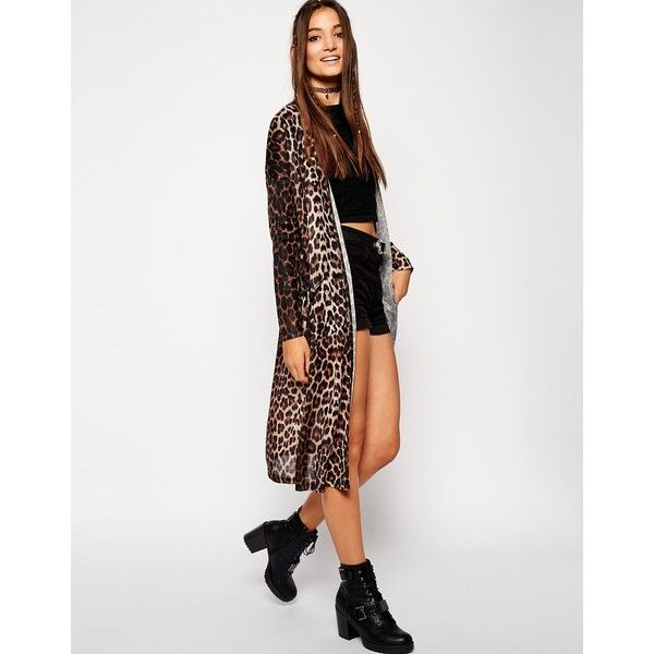 ASOS Kimono Cardigan in Leopard Print ($20) ❤ liked on Polyvore ...