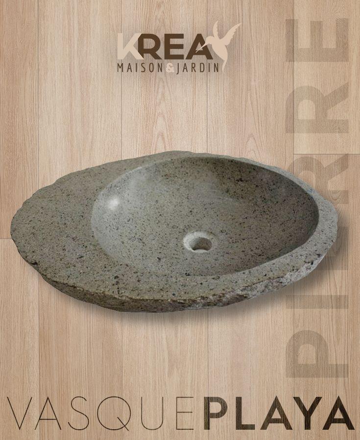 vasque a poser pierre de riviere Vasque à poser en Pierre de Rivière PLAYA - Dimensions 40 x 40 x 15 cm et  50 x 50 x 15 cm. #salledebain #intérieur #vasque #pierre