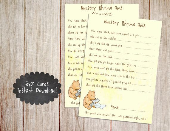 Printable Winnie the Pooh Baby Shower Game, Classic Winnie the Pooh, Nursery Rhyme Baby Shower Game