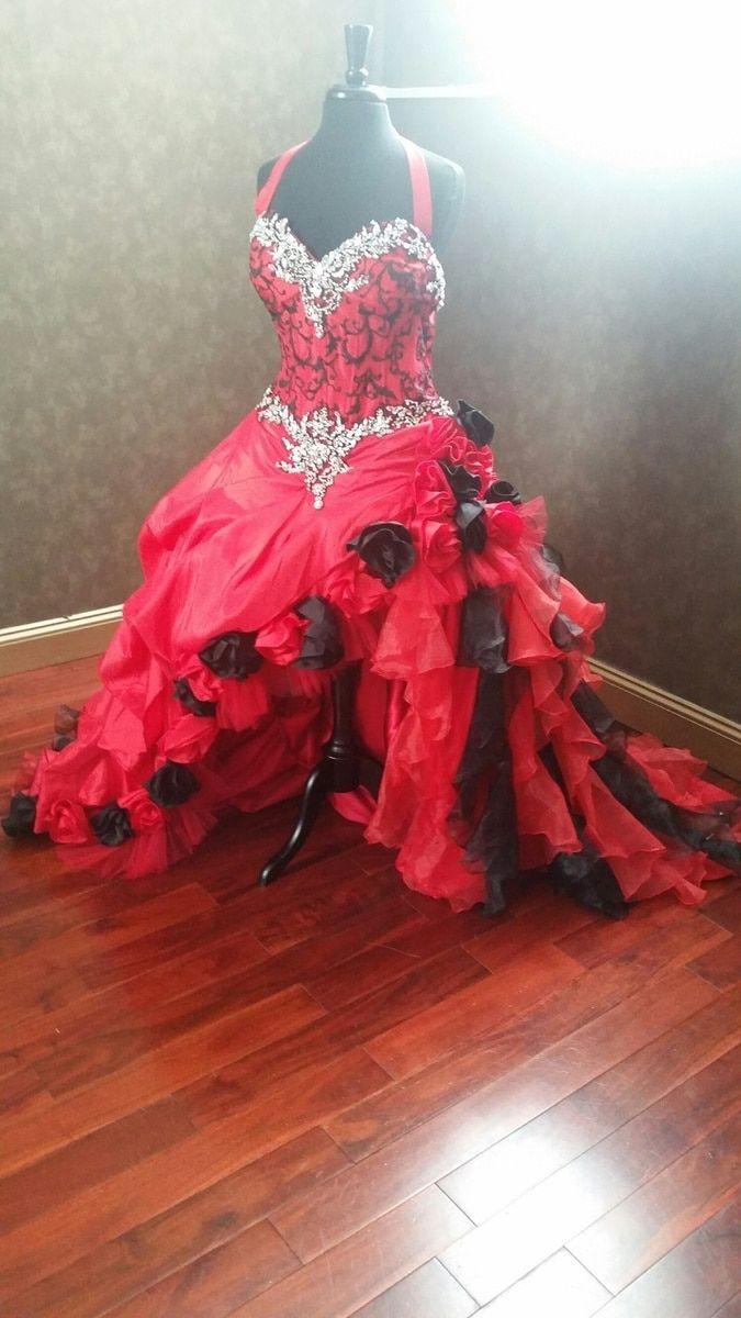 Red and black wedding dress  Red and Black Corset Wedding Dress  Wedding Las Vegas  Roy