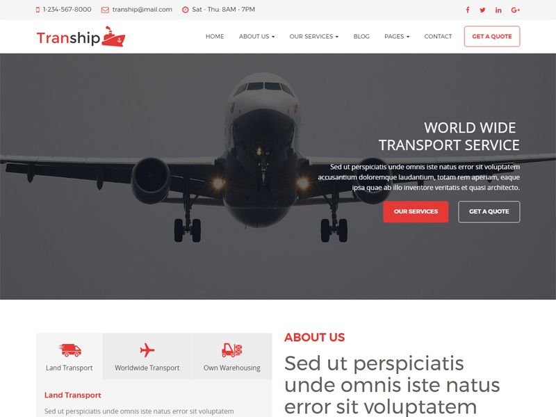 Tranship Is A Transportation Free Html Template Created For