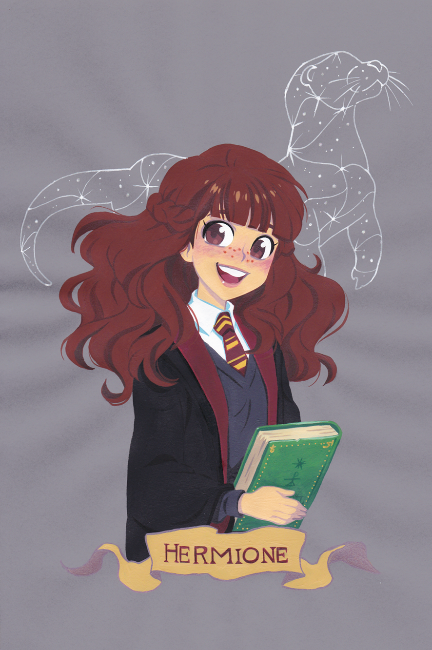 Hermione Granger Gouache Painting On Colored Paper Anime