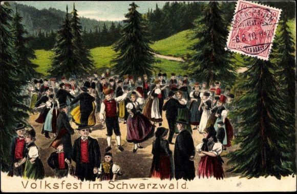 Präge Ak Volksfest im Schwarzwald, Paare in Trachten beim Gruppentanz Gutach, Elztal, Hochschwarwald, St Georgen ????