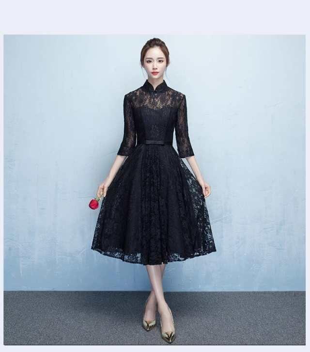 c8491d42a7dca 「☆高品質 復古調 レース パーティードレス ミディアムドレス ワンピース ミドル丈 7分袖 黒♪結婚式 二次会 発表会 舞台  D106」の商品情報やレビューなど。