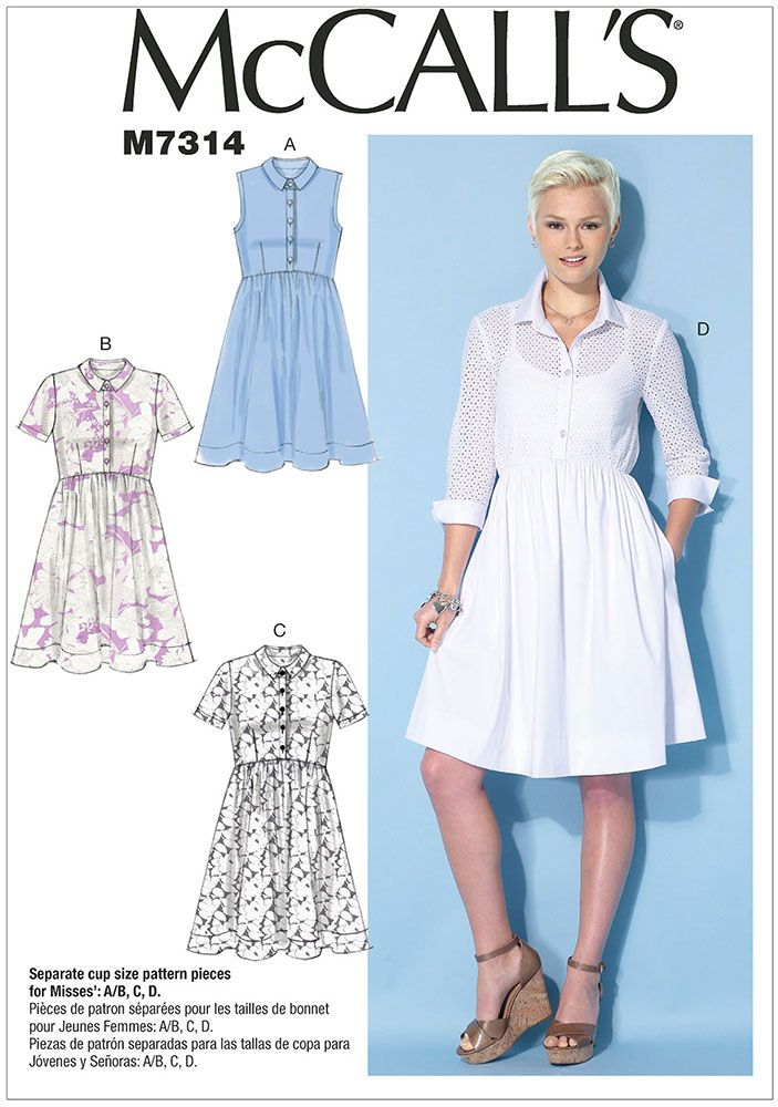 Misses Button-Up Dresses McCalls Sewing Pattern 7314. | Sewing ...