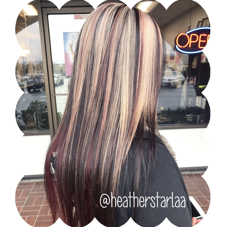 Blonde Hair Red Highlights Straight Hair Layered Hair Red Hair Straight Hair Chunky Highlights Straight Hairstyles Hair Color Pink Hair Styles