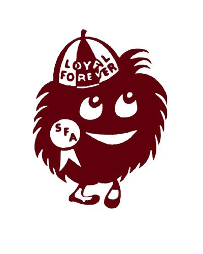 """My high school mascot. What's a maroon? According to Stephen F. Austin High in Austin, a """"Maroon"""" is anyone who represents the school with pride. Even more intriguing than the mascot's name is its depiction, a maroon ball of fluff with large eyes. The first picture of """"Mr. Maroo"""" was drawn in 1957, but the school says it has more than 100 different illustrated versions of the mascot."""