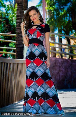 e8d7409d6 Vestido Longo Forrado confeccionado em Viscose com elastico na cintura  ,acabamento em costura no tom