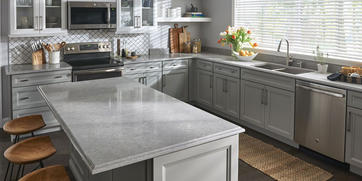 Best Viatera Quartet Kitchen Remodel Gray Quartz Countertops 640 x 480