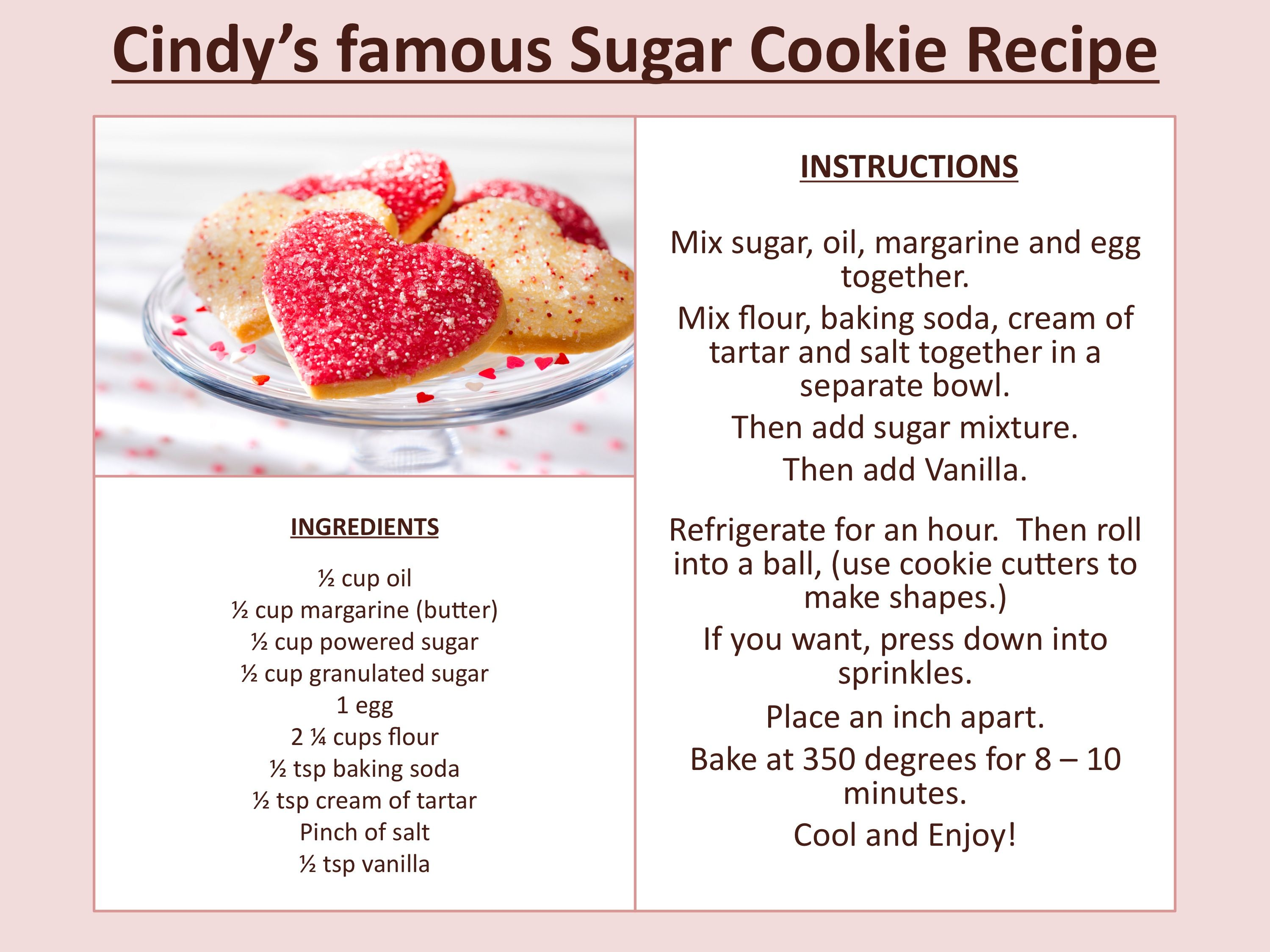 Cindy's Famous Sugar Cookie Recipe (With images) Recipes
