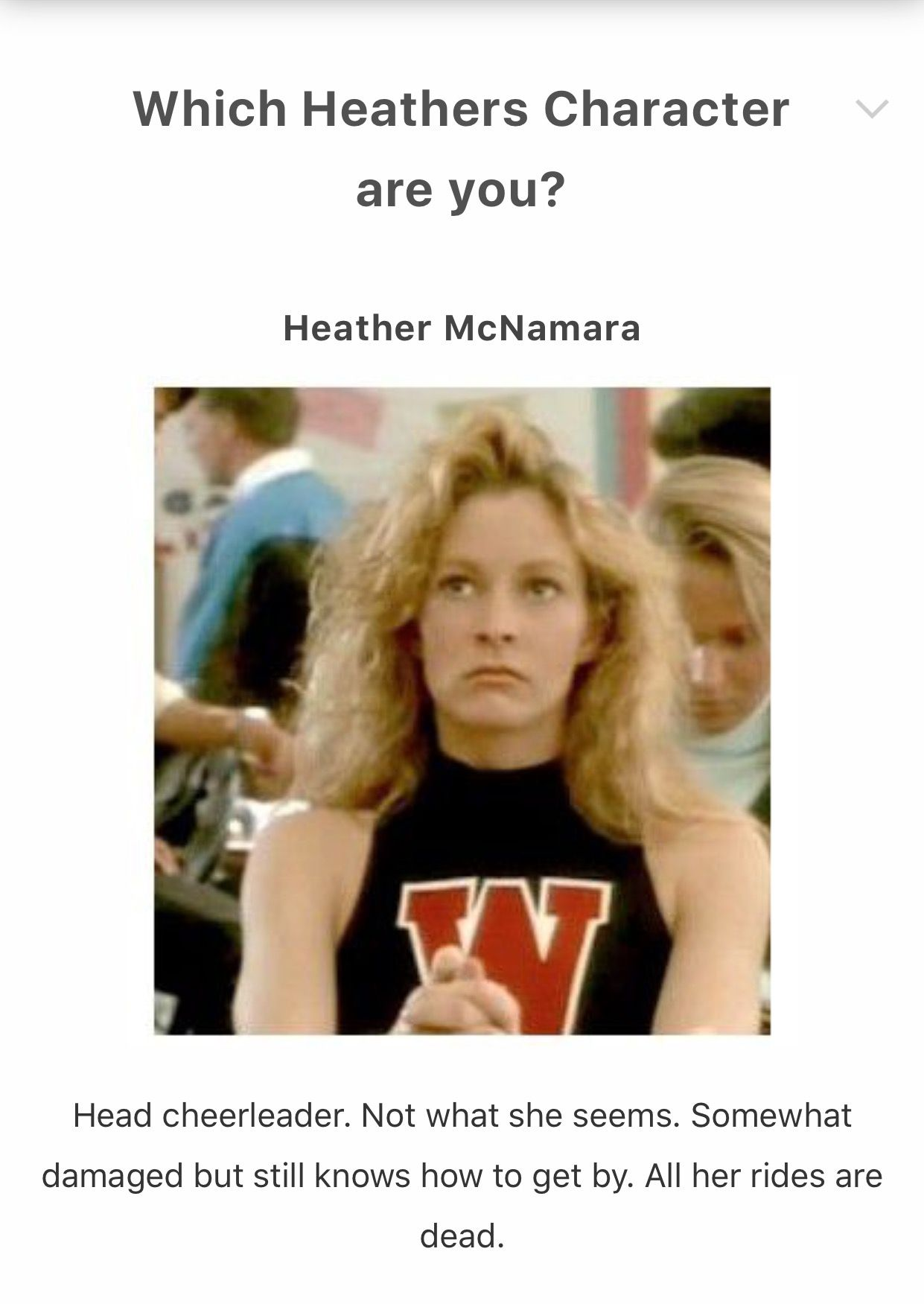 I Got Heather Mcnamara Which Heathers Character Are You