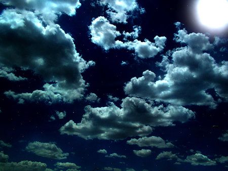 BEAUTIFUL NIGHT SKY - night, clouds, stars, sky, beautiful, moon |  Beautiful night sky, Night sky wallpaper, Night skies