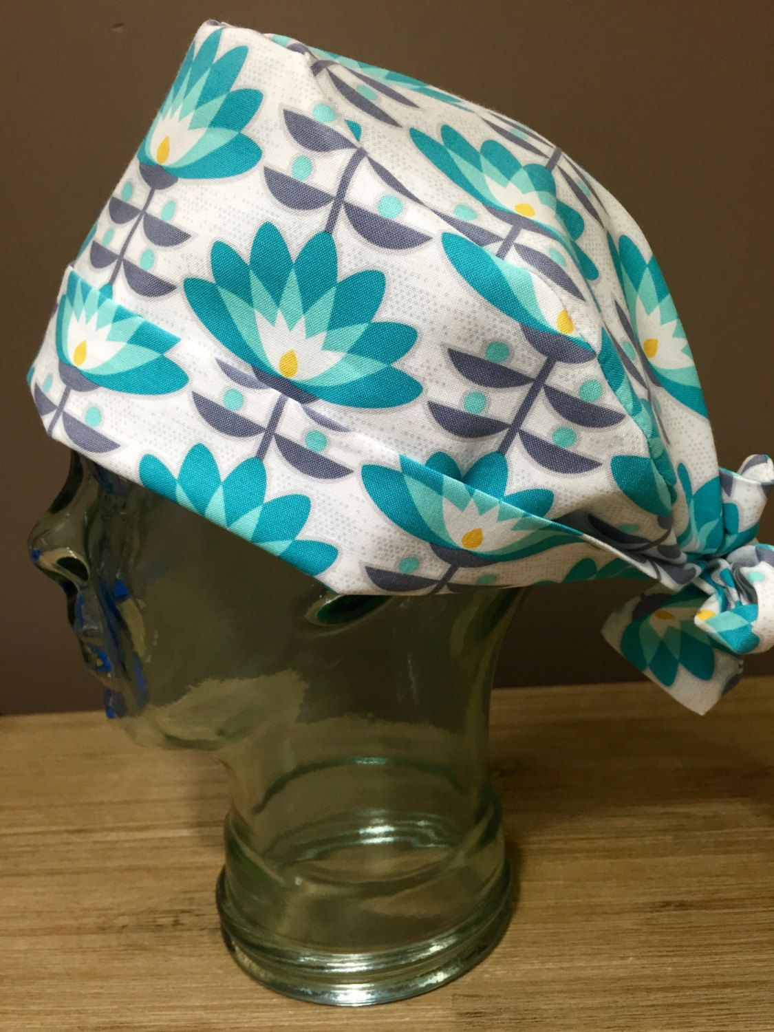 Teal   Grey Flower Surgical Scrub Hat d38291ff00e