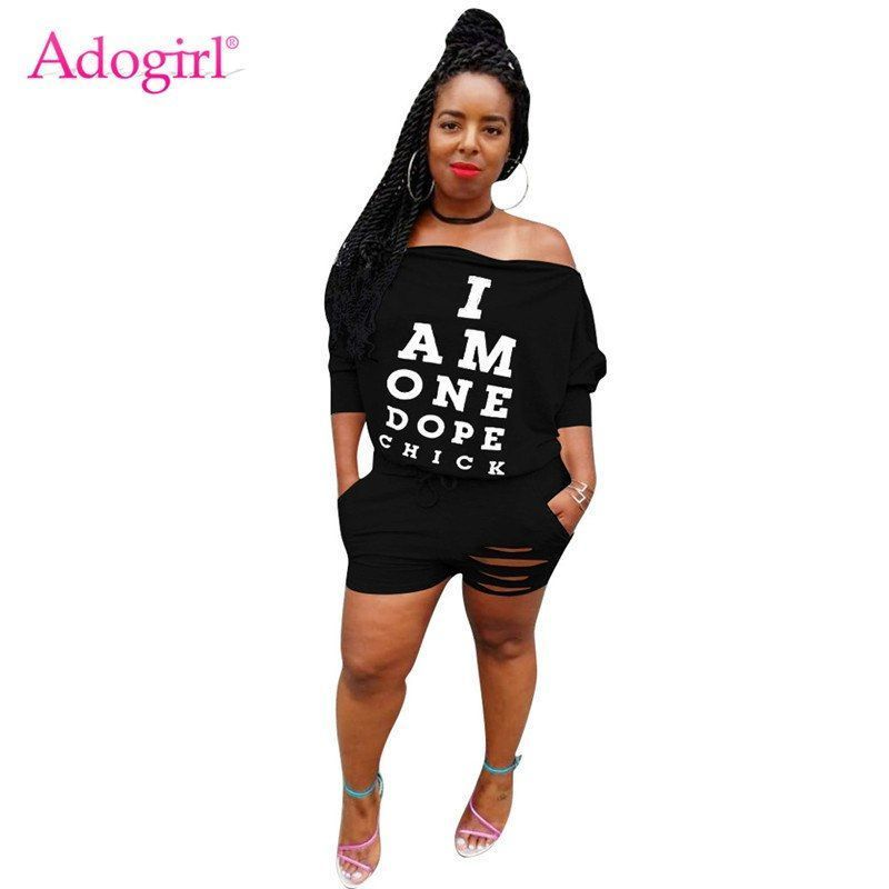 Letters print holes women casual jumpsuit sexy off shoulder long sleeve  drawstring night club romper streetwear playsuit  women  jumpsuits      rompers ... f622bb785cbb