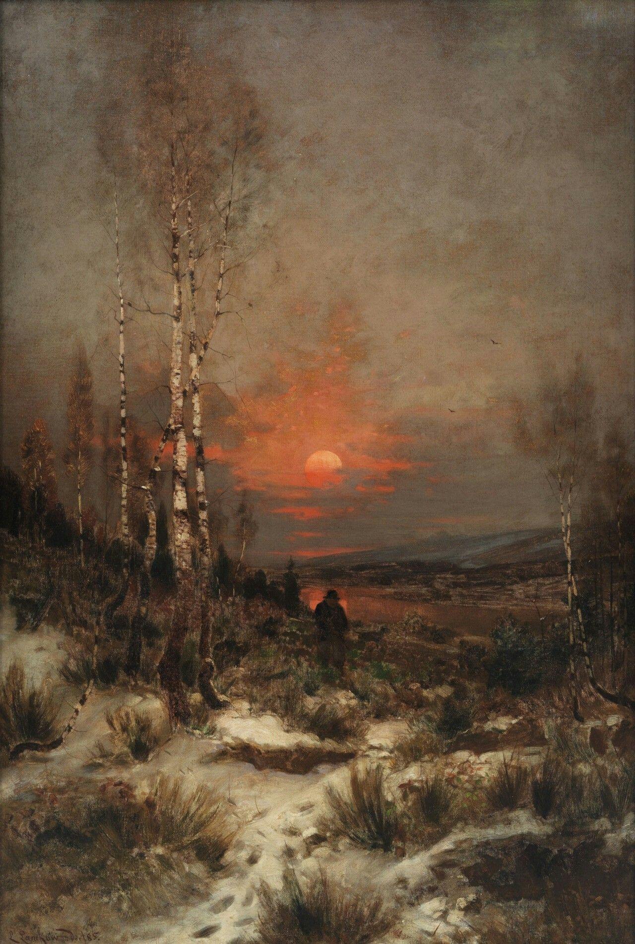 Abendliche Winterlandschaft mit einem Jäger, 1906, Ludwig Lanckow