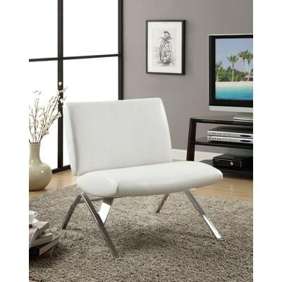 white leather accent chair canada table and chairs set monarch specialties look chrome metal modern i 8074 home depot 327