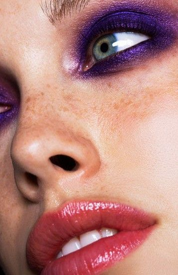 Purple eye makeup.