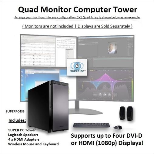 SUPER PC | Quad Monitor Workstation | 7th Gen Intel Core i5