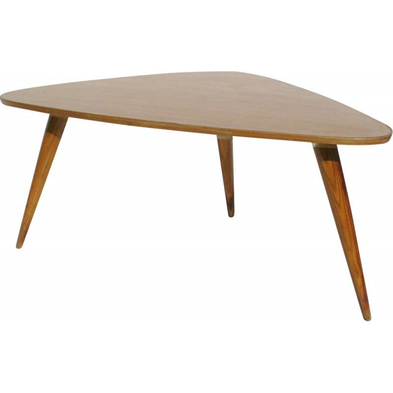 Triangular Coffee Table In Wood And Melamine 1950s