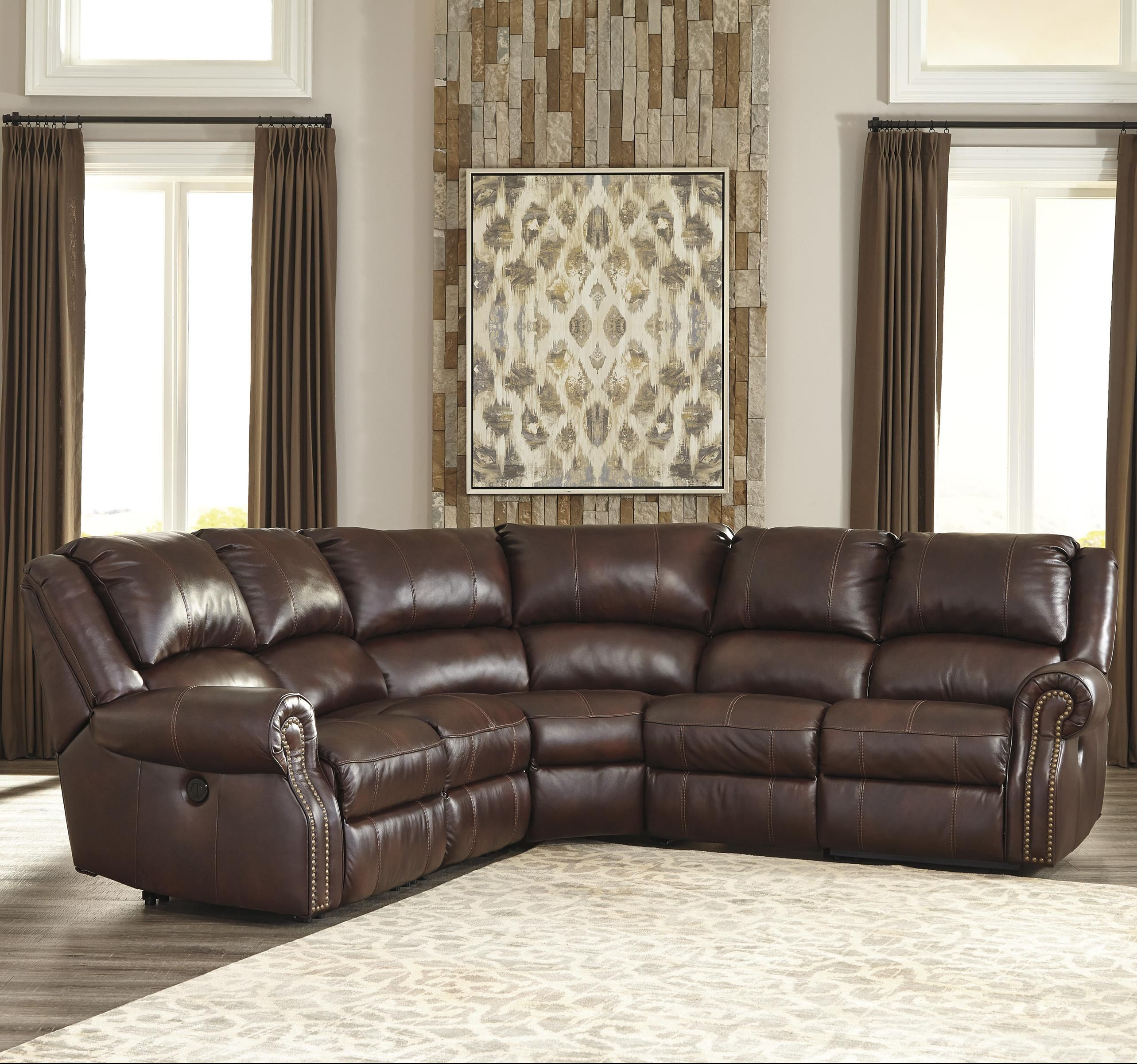 Collinsville Transitional 5 Piece Leather Match Power Reclining
