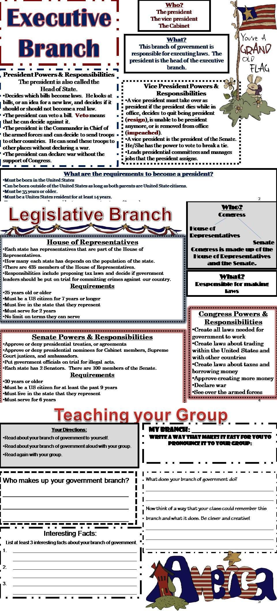 Branches Of Government Jigsaw Activities This 15 Page Branches Of