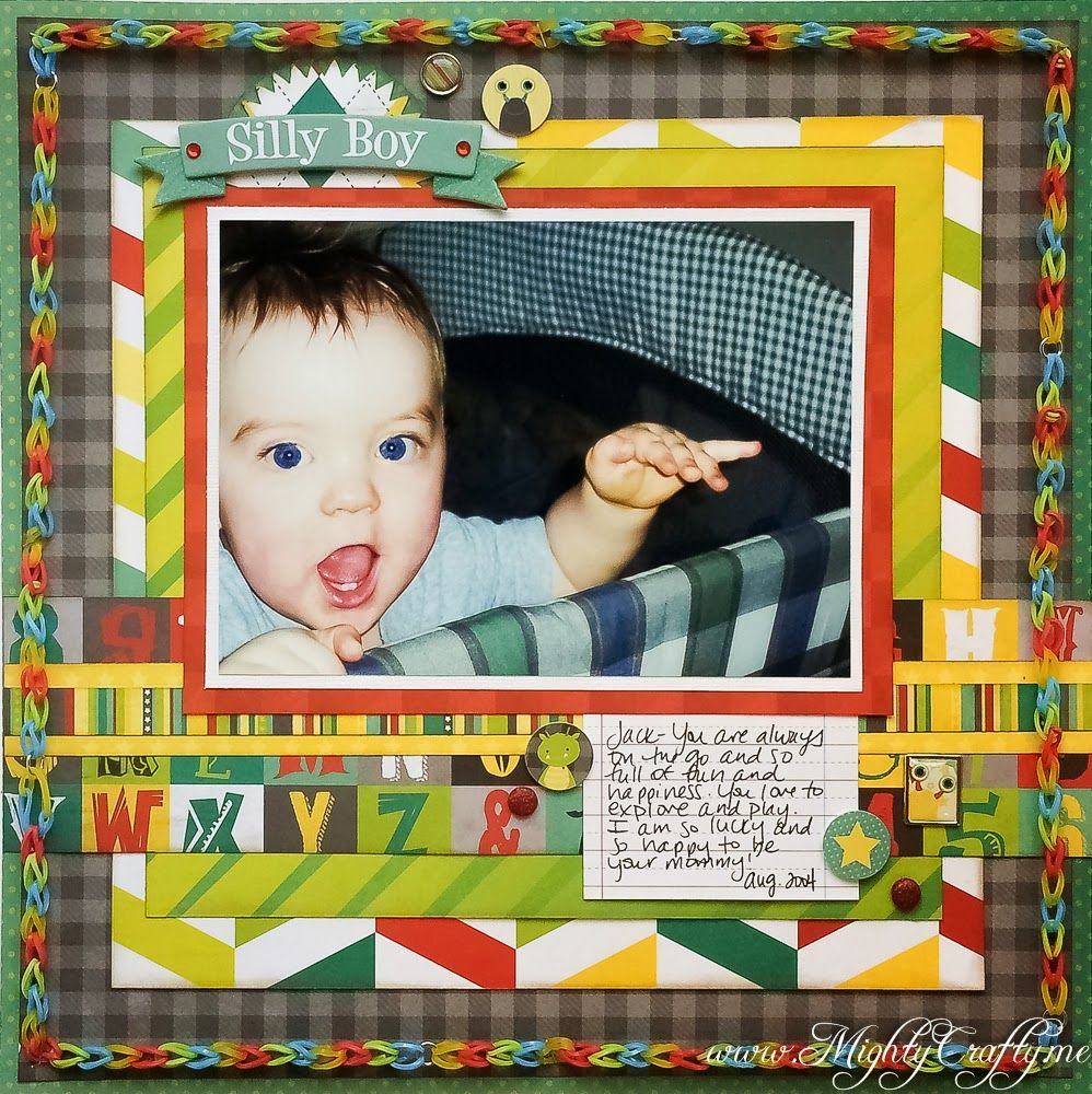 Scrapbook ideas rainbow - Silly Boy Layout For Practical Scrappers Frugal Finds Rainbow Loom Bands Www