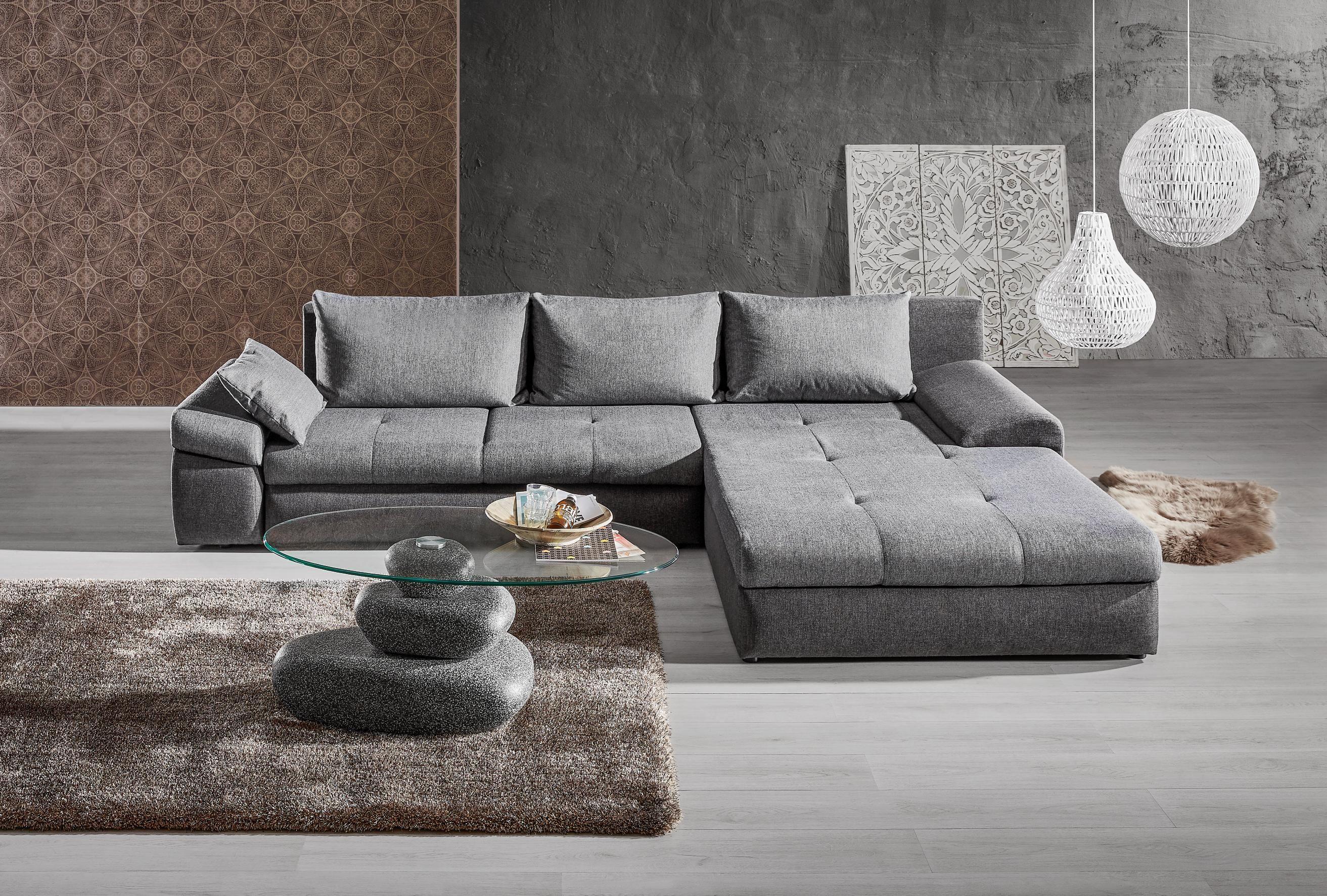 graue wohnlandschaft mit praktischer schlaffunktion komfortabel chic 30 tagfurniture - Eckschlafsofa Die Praktischen Sofa Fur Ihren Komfort