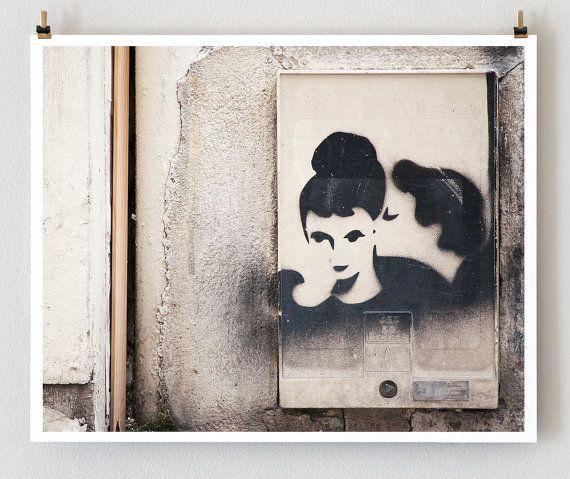 The Kiss, Paris Photography, 16x20 Original Art Print (Graffiti)