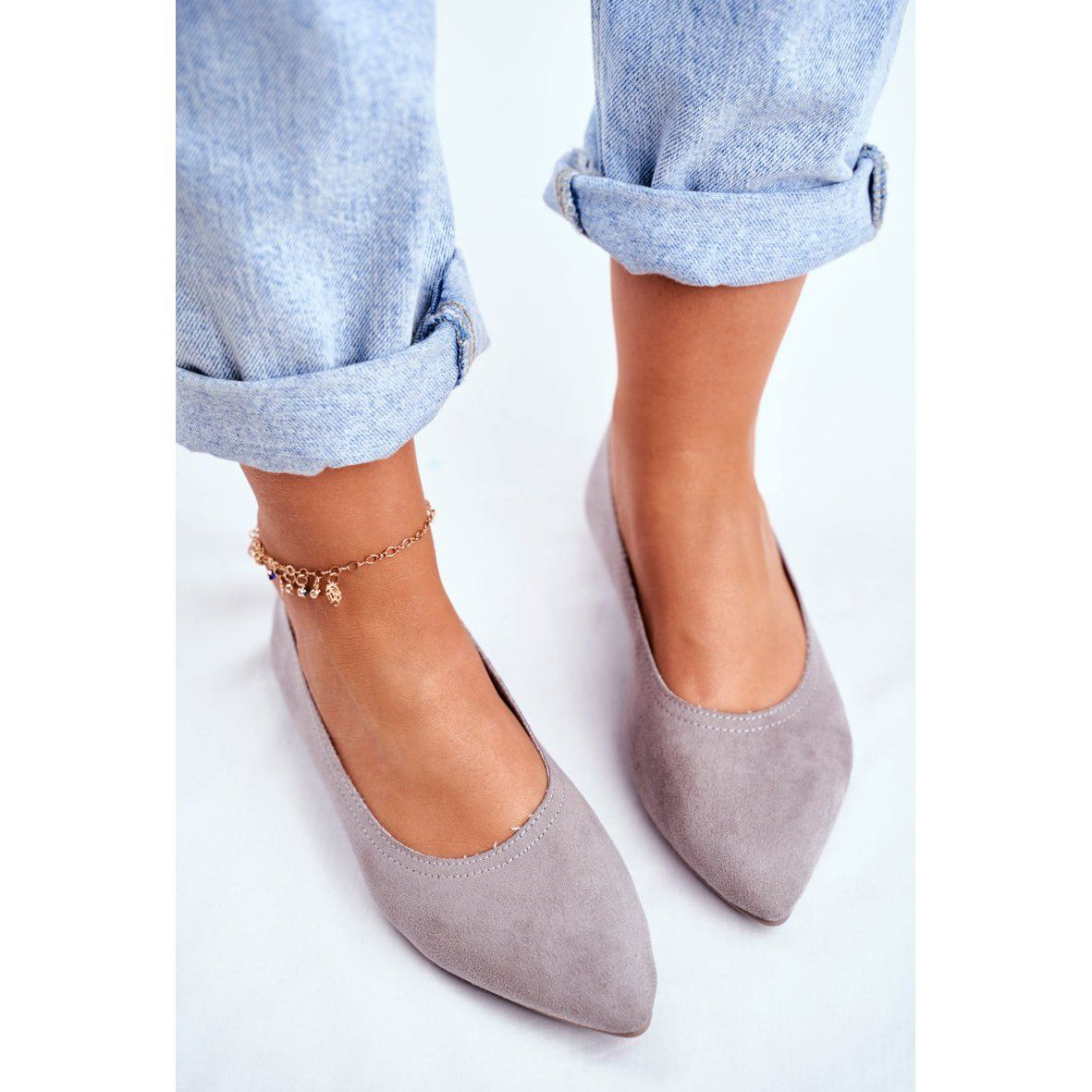 Ps1 Baleriny Damskie Eko Zamsz Szare Bellissima Heeled Mules Shoes Heels