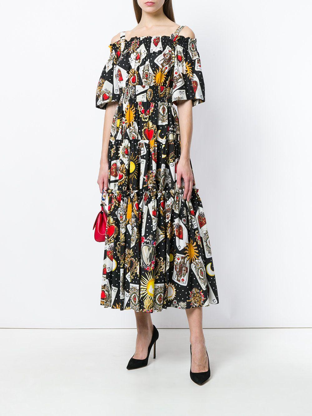 b90155037f5 Dolce n Gabbana playing card print dress