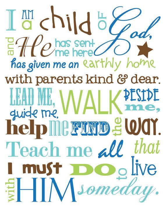 I Am a Child of God - 11x14 print