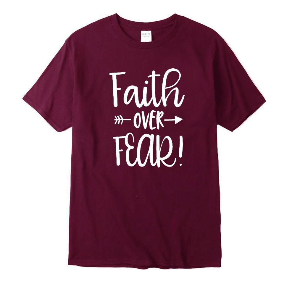 46e067238c3 2018 Women Plus Size T-Shirt 4 Colors Summer O Neck Tee Tshirt Cotton T  Shirt Girl Faith Over Fear Letter Printed Top Tees