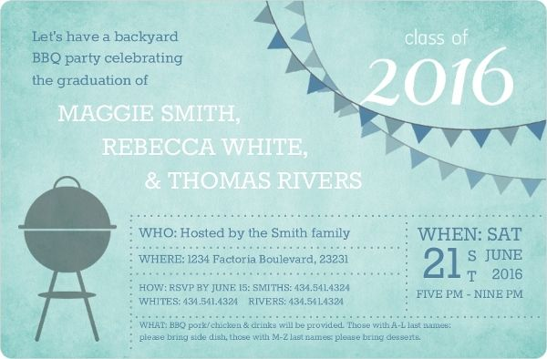 Group Graduation BBQ Party Invitation | Graduation Party - Ideas and ...