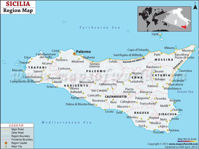 Sicily Region Italy Map Maps Of World Pinterest Sicily and Italy