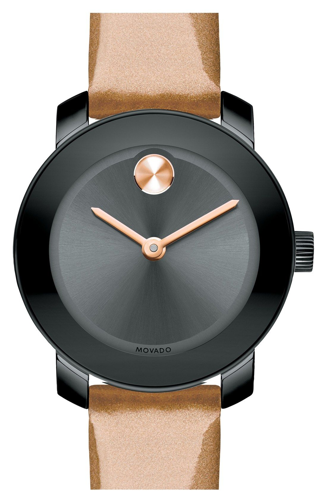 adeeff15dcd5 The color-rich patent-leather wristband confirms the modern-luxe look of  this sleek black and rose gold Movado watch.