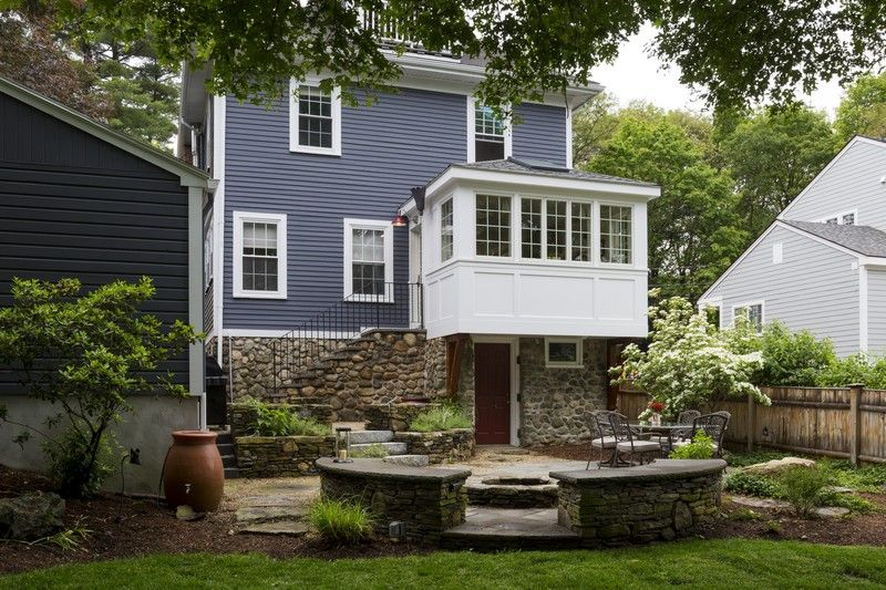 This Arlington Ma Kitchen Expansion Features A Cantilevered 9 9 Addition Overlooking The Beautifully Lan Lake Houses Exterior Kitchen Addition Backyard Porch