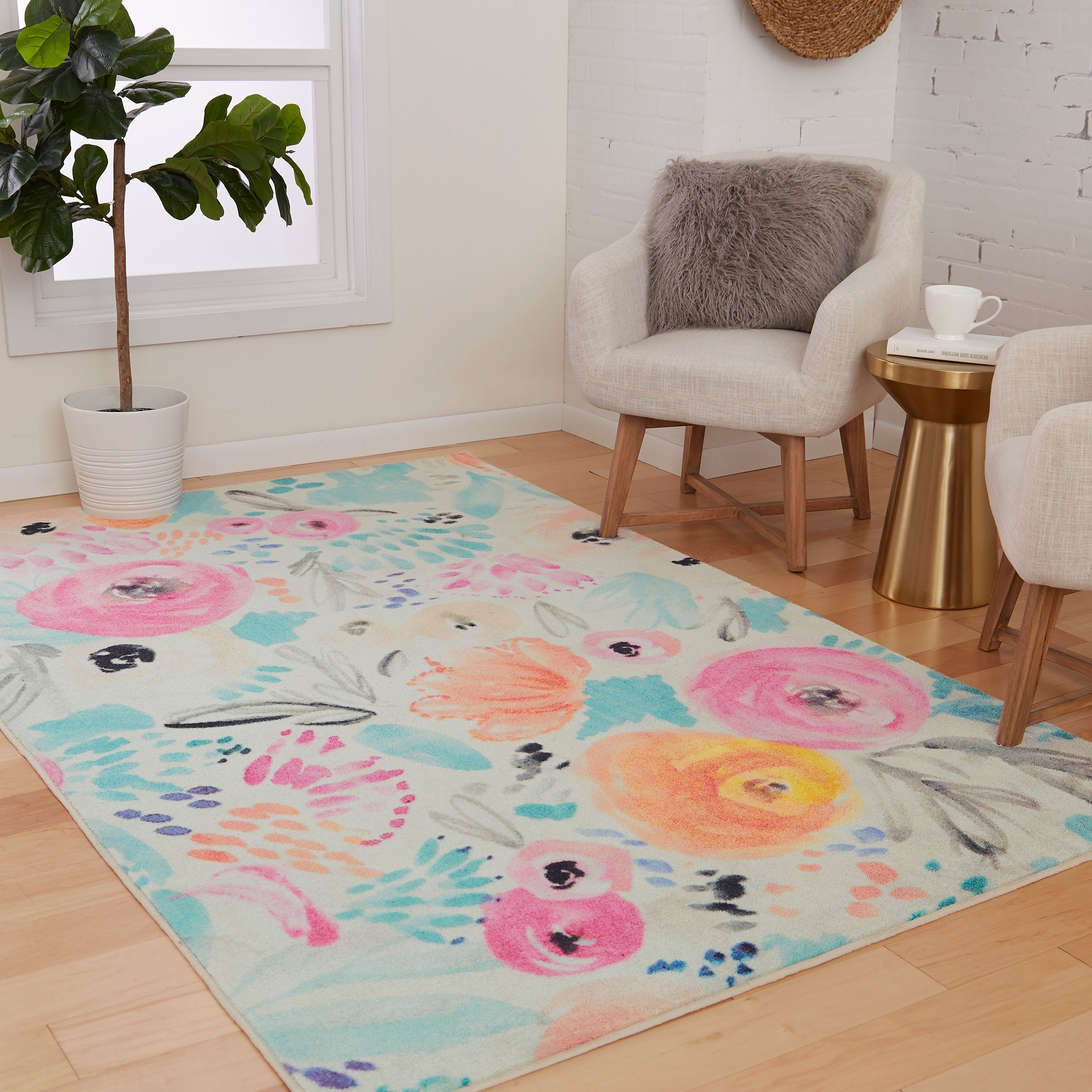 Mohawk Prismatic Watercolor Floral Area Rug 3 X 5 Orange Blue