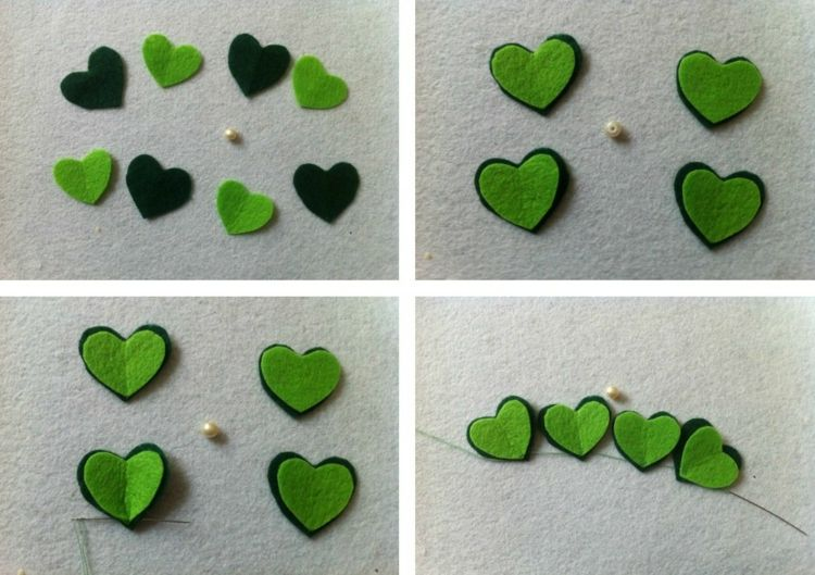 Silvester Basteln gluecksbringer basteln silvester fleece diy gruen nuancen naehen