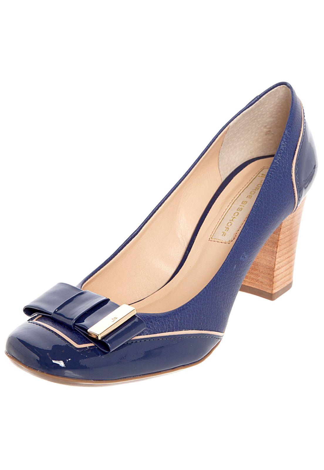 f979e5309e 2bb922c71 Scarpin Jorge Bischoff Salto Grosso Laço Azul - Compre Agora ...