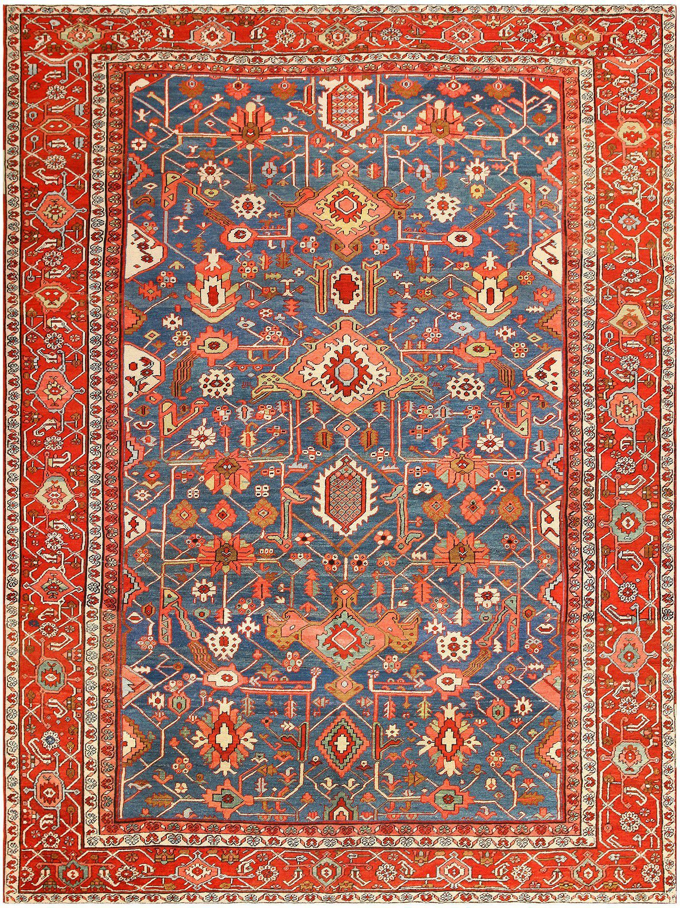 Teppich New York Blue Antique Persian Heriz Serapi Rug 48006 By Nazmiyal Persian