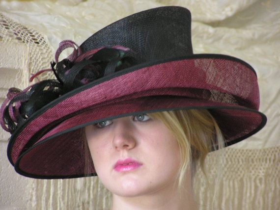 Burgundy and Black Double Brim Kentucky Derby Hat 6e5f140ac74
