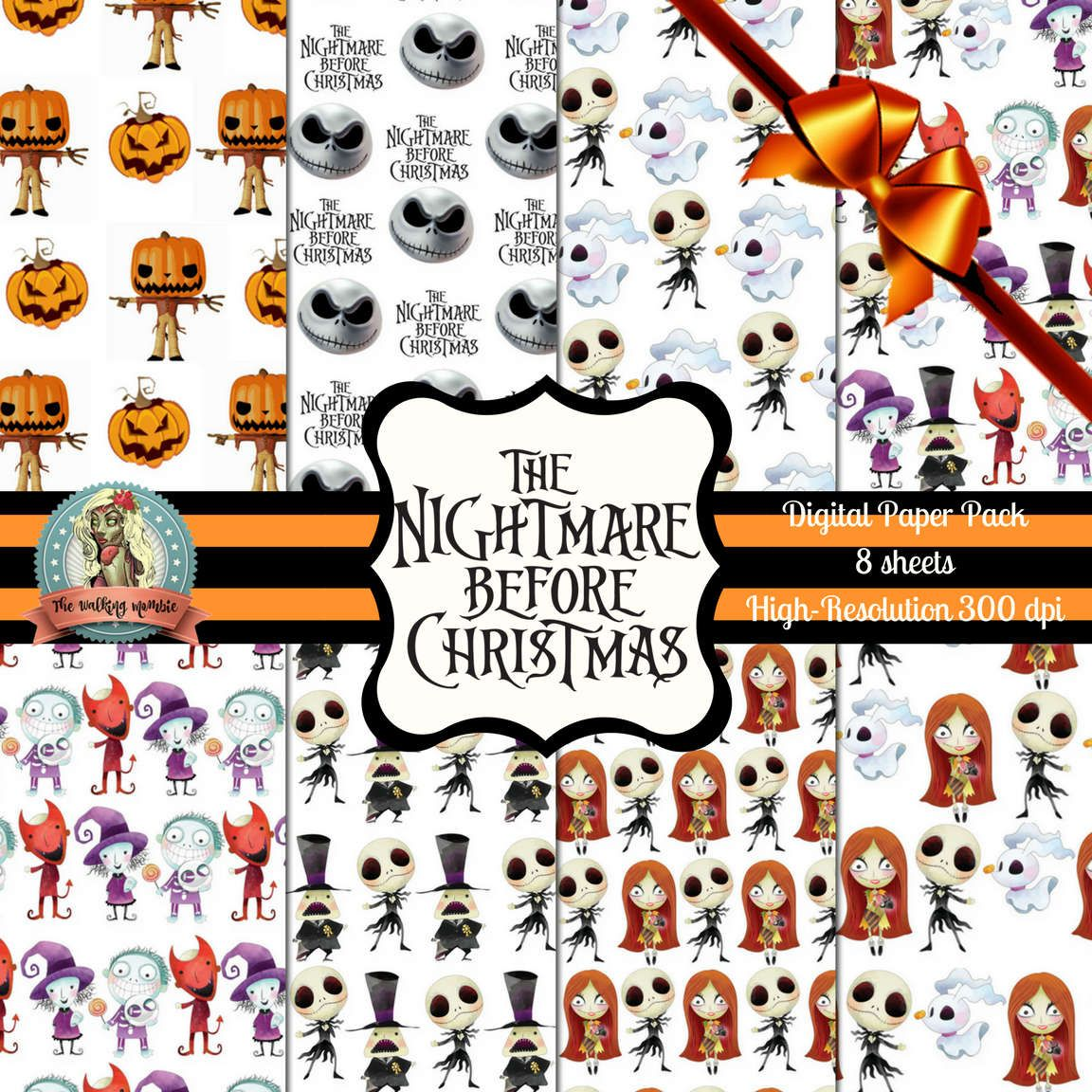 Nightmare Before Christmas Digital Paper, Nightmare Before Christmas ...