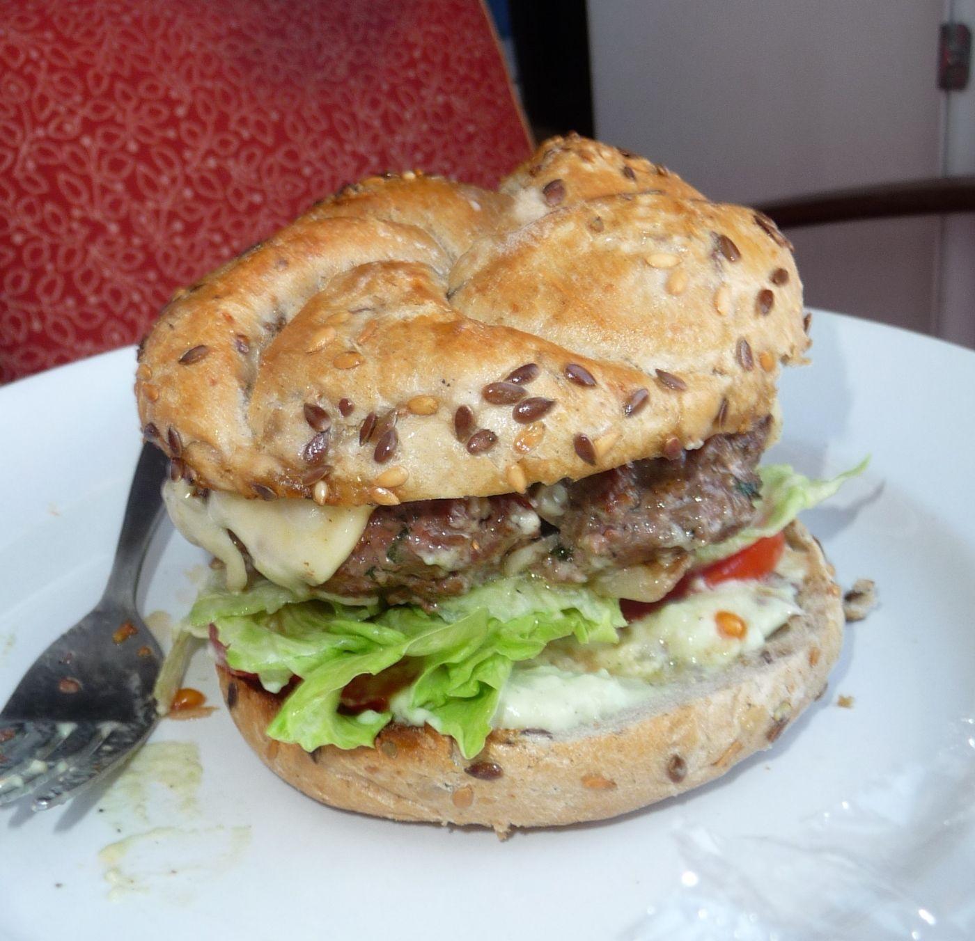 Hamburger from grill