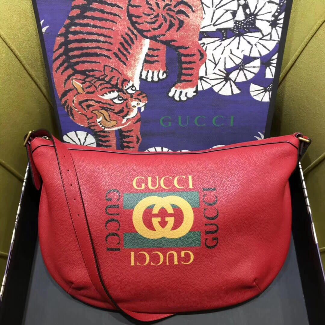 6eb5890d5 Gucci Print half-moon hobo bag 523588 Red | Luxury Handbags | Bags ...