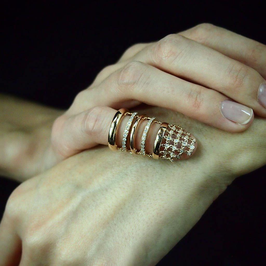 Diamond Guinevere Chainmail Rose Pinky Ring Diamond & 18K Ros