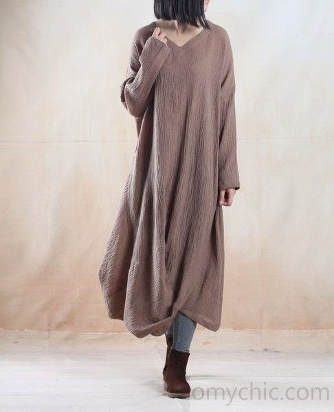 Khaki long linen dress maxi spring caftan dress Asymmetric gown - My freedom