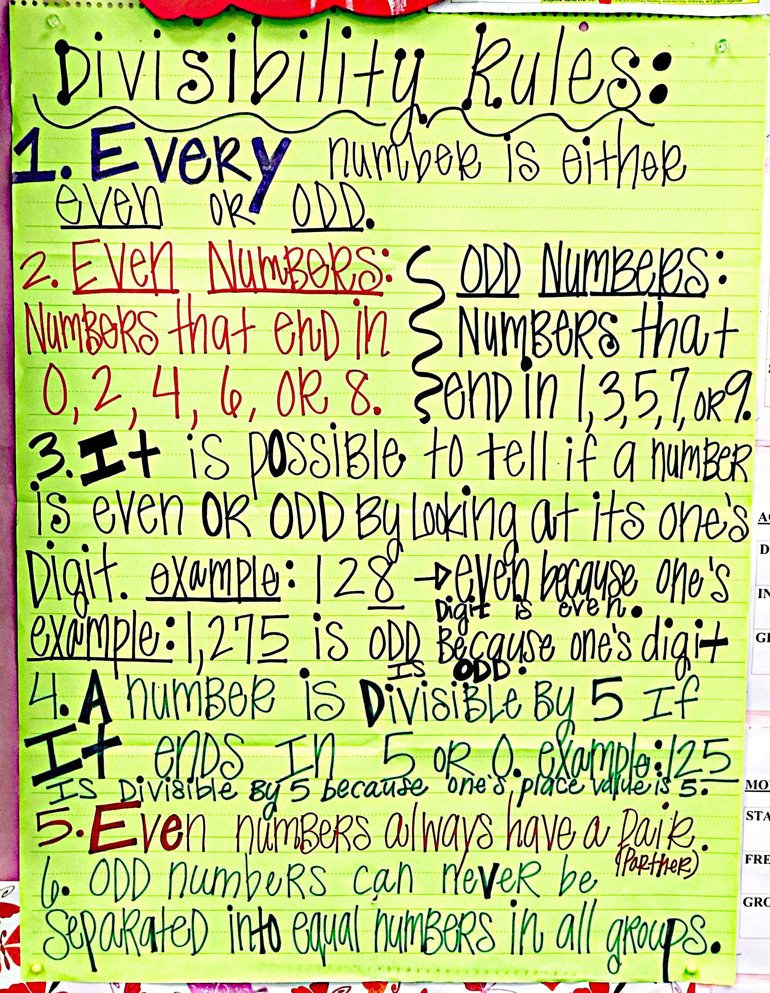 Divisibility Rules And Even Amp Odd Numbers