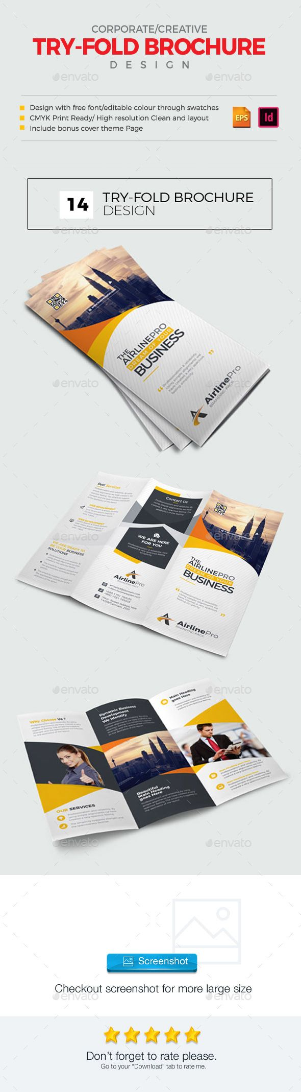 TriFold Brochure Template Vector Eps Indesign Indd Design